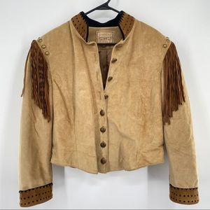 DOUBLE D RANCH Suede Fringe Western Leather Jacket